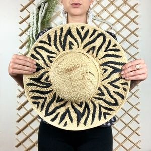 NEW* Printed Woven Wide Brim Tan Black Sun Hat